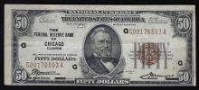 1929 $50 The Federal Reserve Bank of Chicago Illinois National Currency Note