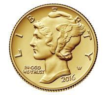 2016-W Mercury Dime Gold Centennial Commemorative Coin with Box/Coa