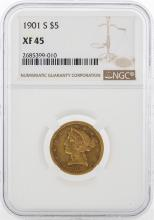 1901 S $5 Liberty Head Half Eagle Gold Coin NGC XF45