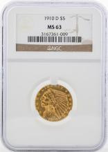 1909-D $5 Indian Head Half Eagle Gold Coin NGC MS63