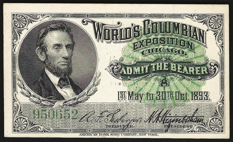 1893 World's Columbian Exposition Ticket Lincoln