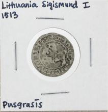 1513 Lithuania Sigismund I Pusgrasis Silver Coin