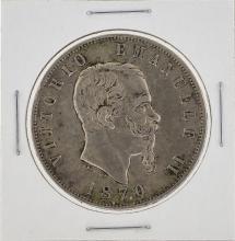 1870 Italy 5 Lira Silver Coin