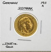1911A Germany 20 Mark Gold Coin