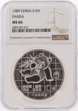 1989 10 Yuan Panda Silver Coin NGC Graded MS66