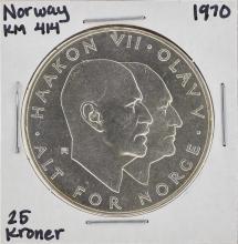 1970 Norway KM 414 25 Kroner Coin