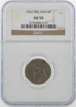 1962 Ireland 6 Pence Coin NGC AU50