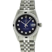 Rolex Mens Stainless Steel Sapphire and Diamond Datejust Wristwatch