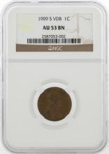1909-S VDB Lincoln Wheat Cent Coin PCGS AU53BN