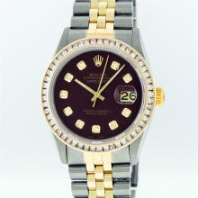 Rolex Mens Two Tone 14KT Yellow Gold 2.95ctw Diamond Datejust Wristwatch
