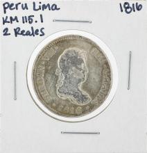 1816 Peru Lima 2 Reales KM115.1 Silver Coin