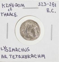 323-281 BC Kingdom of Thrace Lysimachus Ar Tetradrachm Coin