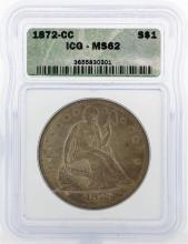 1872-CC $1 Liberty Seated Coin ICG MS62