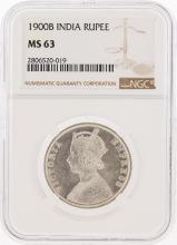 1900B India Rupee Silver Coin NGC Graded MS63