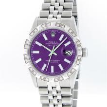 Rolex Mens Stainless Steel 0.70ctw Diamond Datejust Wristwatch