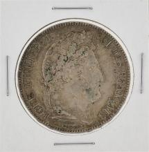 1836 France 5 Francs Silver Coin