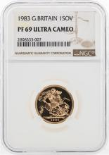 1983 Great Britain 1 Sovereign Gold Coin NGC PF69 Ultra Cameo
