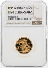 1984 Great Britain 1 Sovereign Gold Coin NGC PF69 Ultra Cameo