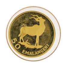 1975 Swaziland Africa 50 Emalangeni Sobhauz II Gold Coin