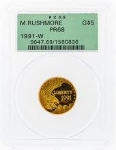 1991-W $5 Mount Rushmore Commemorative Gold Coin PCGS PR68