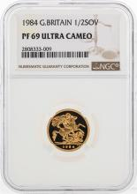 1984 Great Britain 1/2 Sovereign Gold Coin NGC PF69 Ultra Cameo