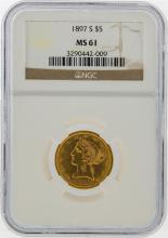 1897-S $5 Liberty Head Half Eagle Gold Coin NGC MS61