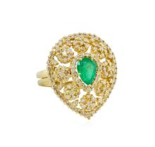 14KT Yellow Gold 0.94ct Emerald and Diamond Ring