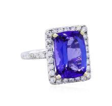14KT White Gold GIA 9.26ct Tanzanite and Diamond Ring