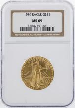 1989 $25 American Gold Eagle Coin NGC MS69