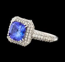 14KT White Gold 2.16ct Tanzanite and Diamond Ring