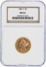 1881-S $5 Liberty Head Half Eagle Gold Coin NGC MS62