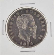 1874 Italy 5 Lira Silver Coin