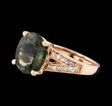14KT Rose Gold 2.97ct Green Tourmaline and Diamond Ring