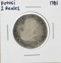 1781 Potosi 2 Reales Silver Coin