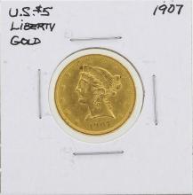 1907 $5 Liberty Head Half Eagle Gold Coin