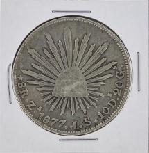 1877 ZS JS Mexico 8 Reales Silver Coin KM 377.13