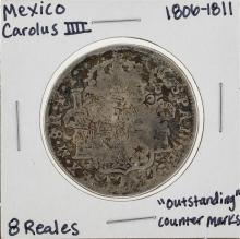 1806-1811 Mexico 8 Reales Silver Coin with Counter Marks