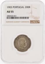 1903 Protugal 200 Reis Coin NGC Graded AU55