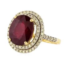 14KT Yellow Gold 7.89ct Ruby and Diamond Ring