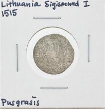 1515 Lithuania Sigismund I Pusgrasis Silver Coin