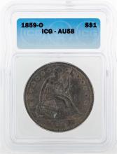 1859-O $1 Liberty Seated Coin ICG AU58
