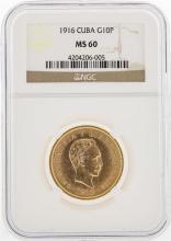 1916 Cuba 10 Pesos Gold Coin NGC MS60