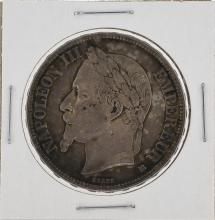 1868 France 5 Francs Napolean III Emperor Silver Coin