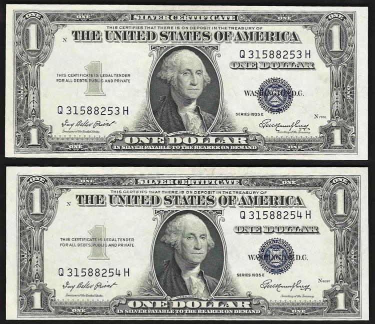 Lot Of 2 1935e Consecutive 1 Silver Certificate Notes Uncirculated