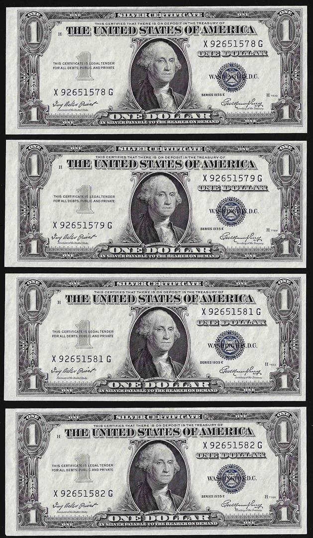 Lot Of 4 1935e Consecutive 1 Silver Certificate Notes Uncirculated