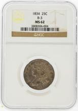 1834 Capped Bust Quarter B-3 LDS NGC Graded MS62