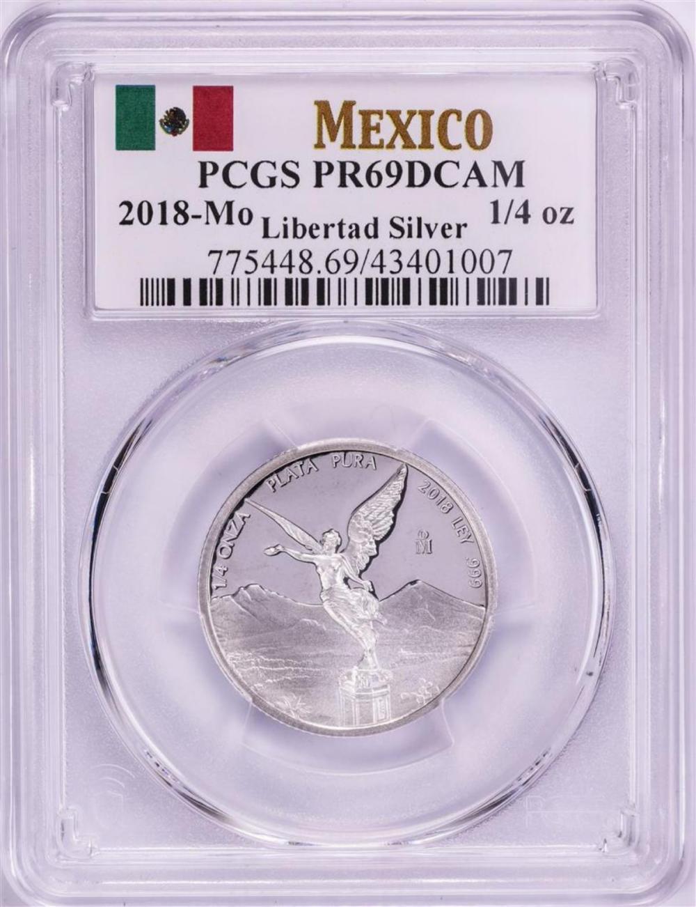 2018-Mo Mexico Proof 1/4 oz Silver Libertad Coin PCGS PR69DCAM