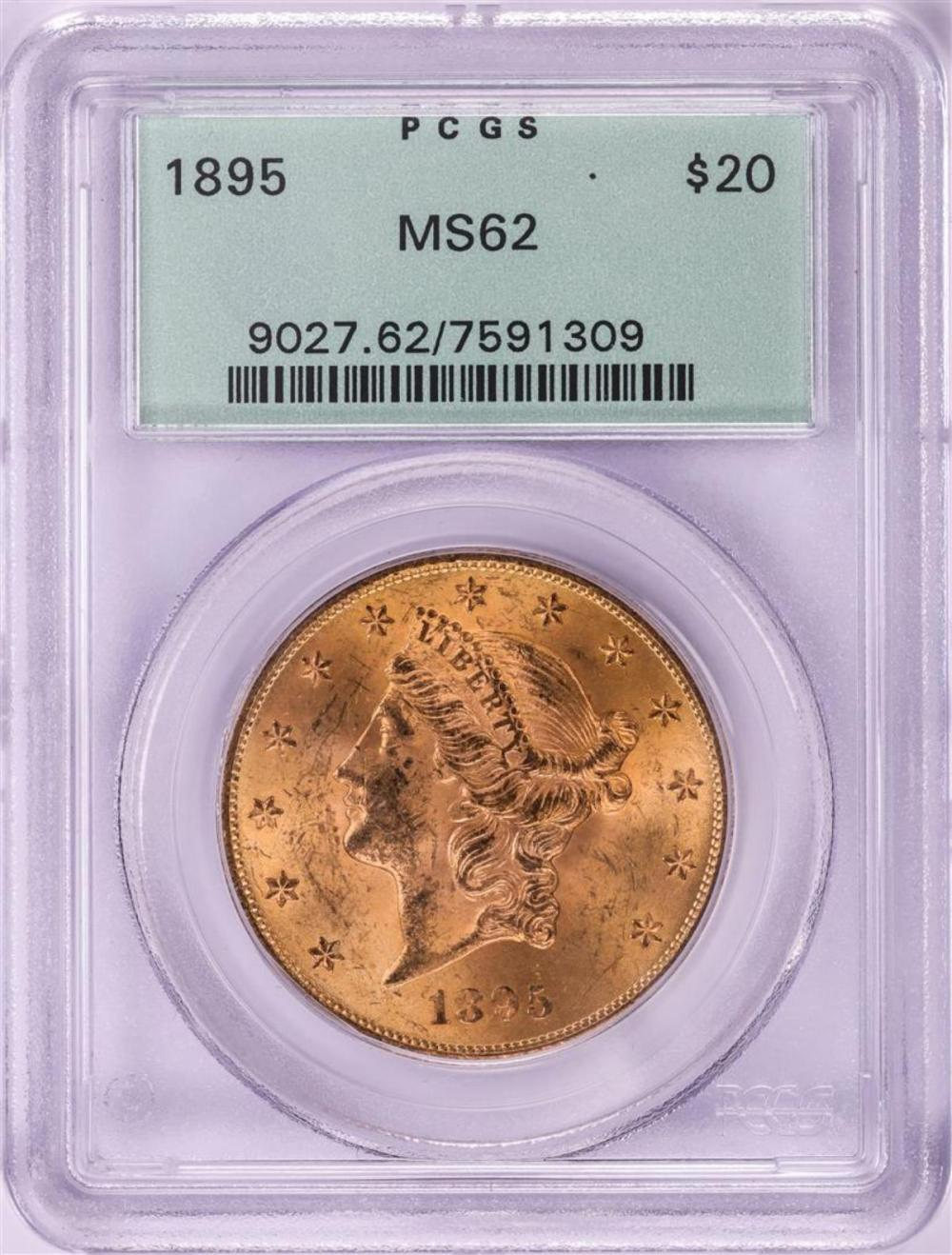 1895 $20 Liberty Head Double Eagle Gold Coin PCGS MS62 Old Green Holder