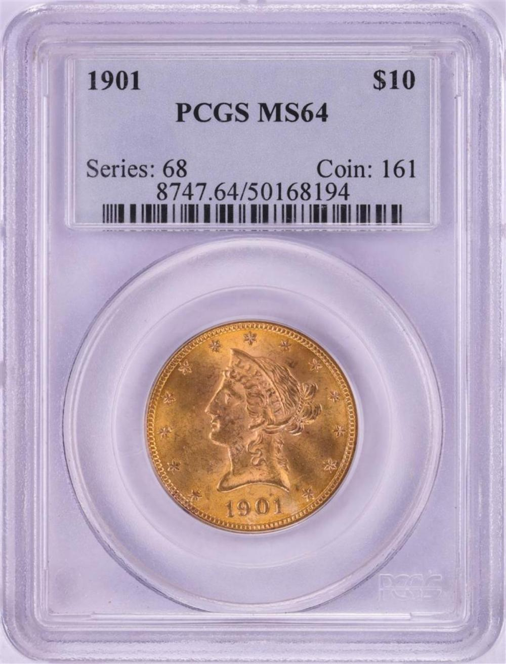 1901 $10 Liberty Head Eagle Gold Coin PCGS MS64