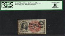 1863 Fourth Issue 15 Cent Fractional Currency Note PCGS Extremely Fine 45 Appare